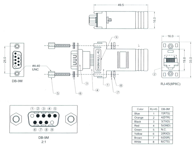 rj45 to db9 rs232