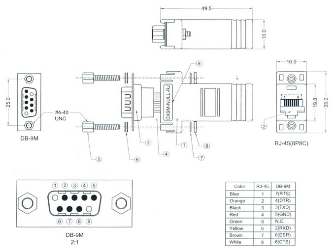 Dx9m Rj Kit Db9 To Rj45 Adapter Kit